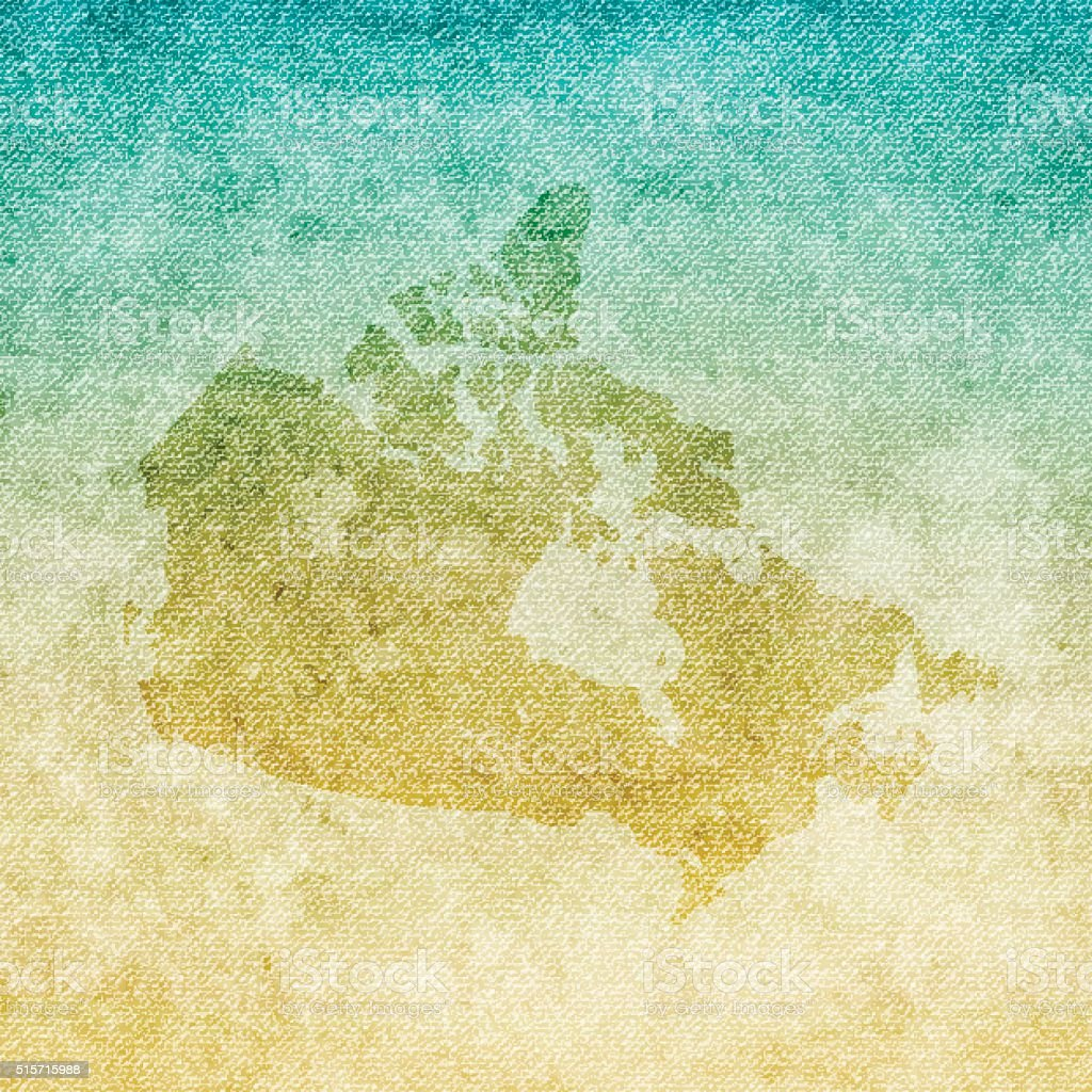 Canada Map on grunge Canvas Background vector art illustration