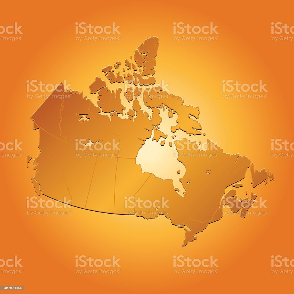 Canada map on orange sunny background vector art illustration