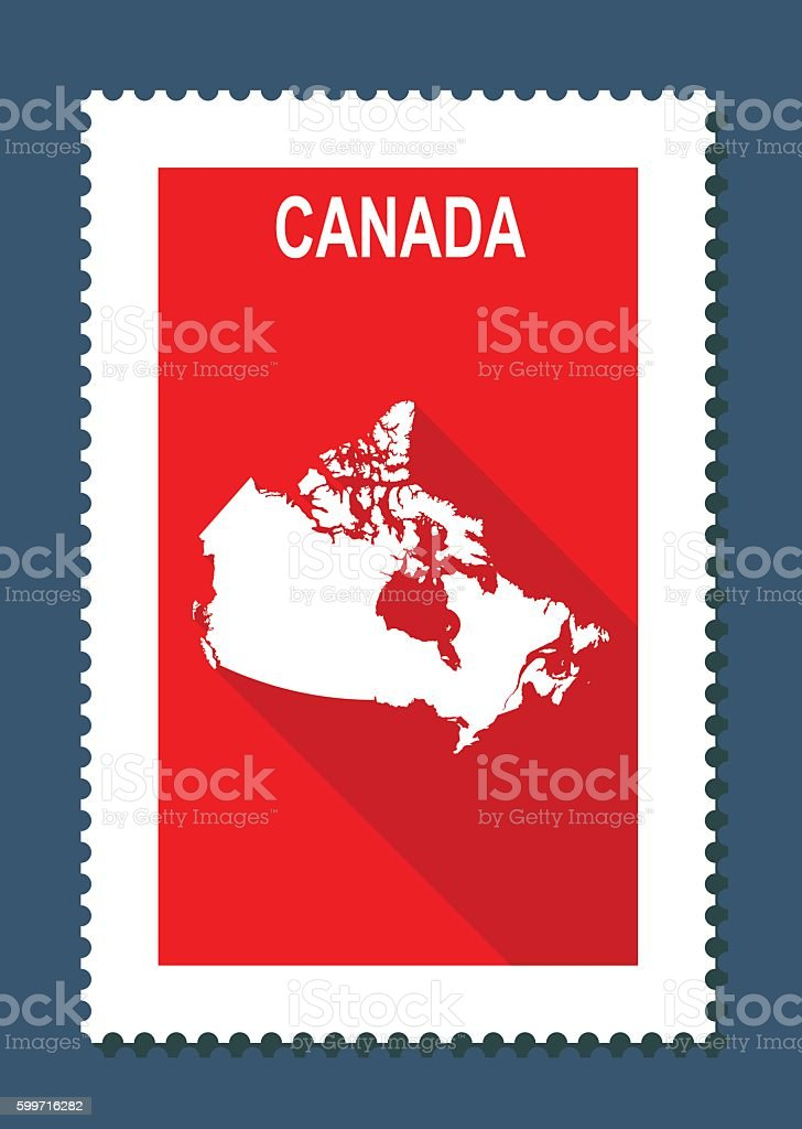 Canada Map on Red Background, Long Shadow, Flat Design,stamp vector art illustration
