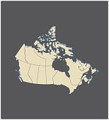 Canada map outline vector in gray background
