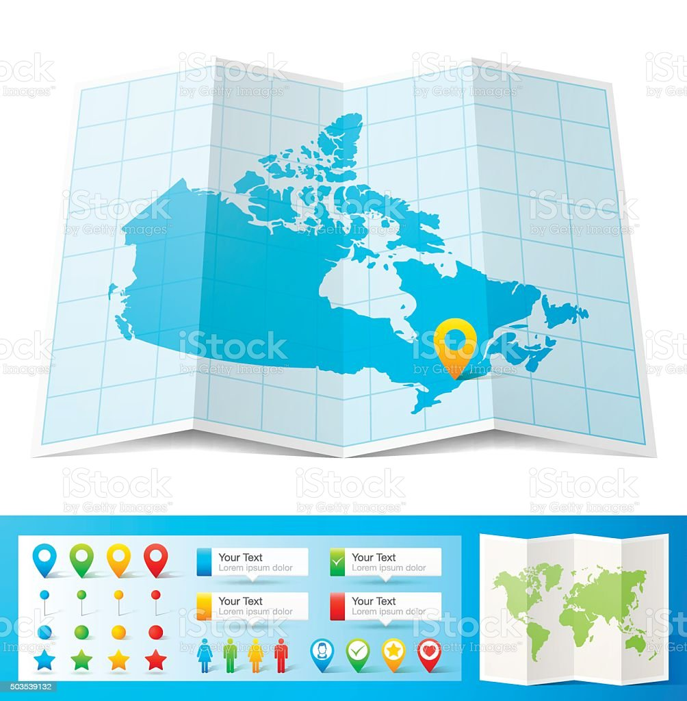 Canada Map with location pins isolated on white Background vector art illustration