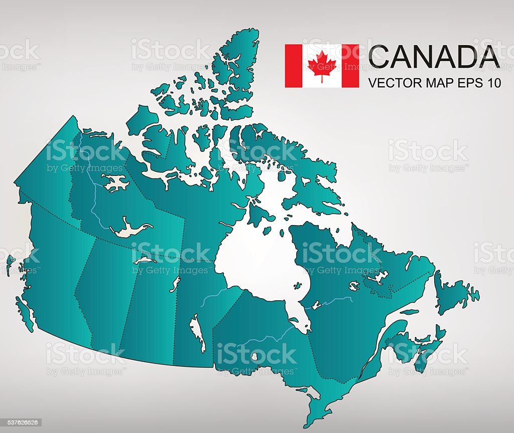 Canada map with provinces. All territories are selectable. Vector royalty-free stock vector art