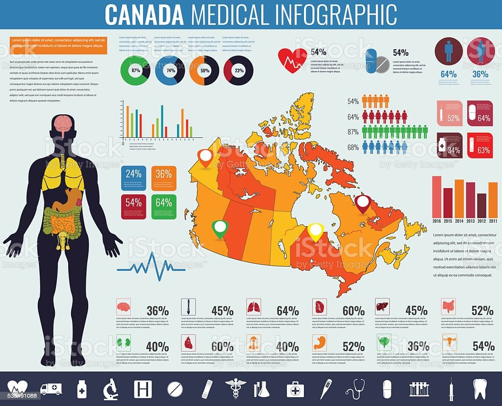 Canada Medical Infographic. royalty-free stock vector art