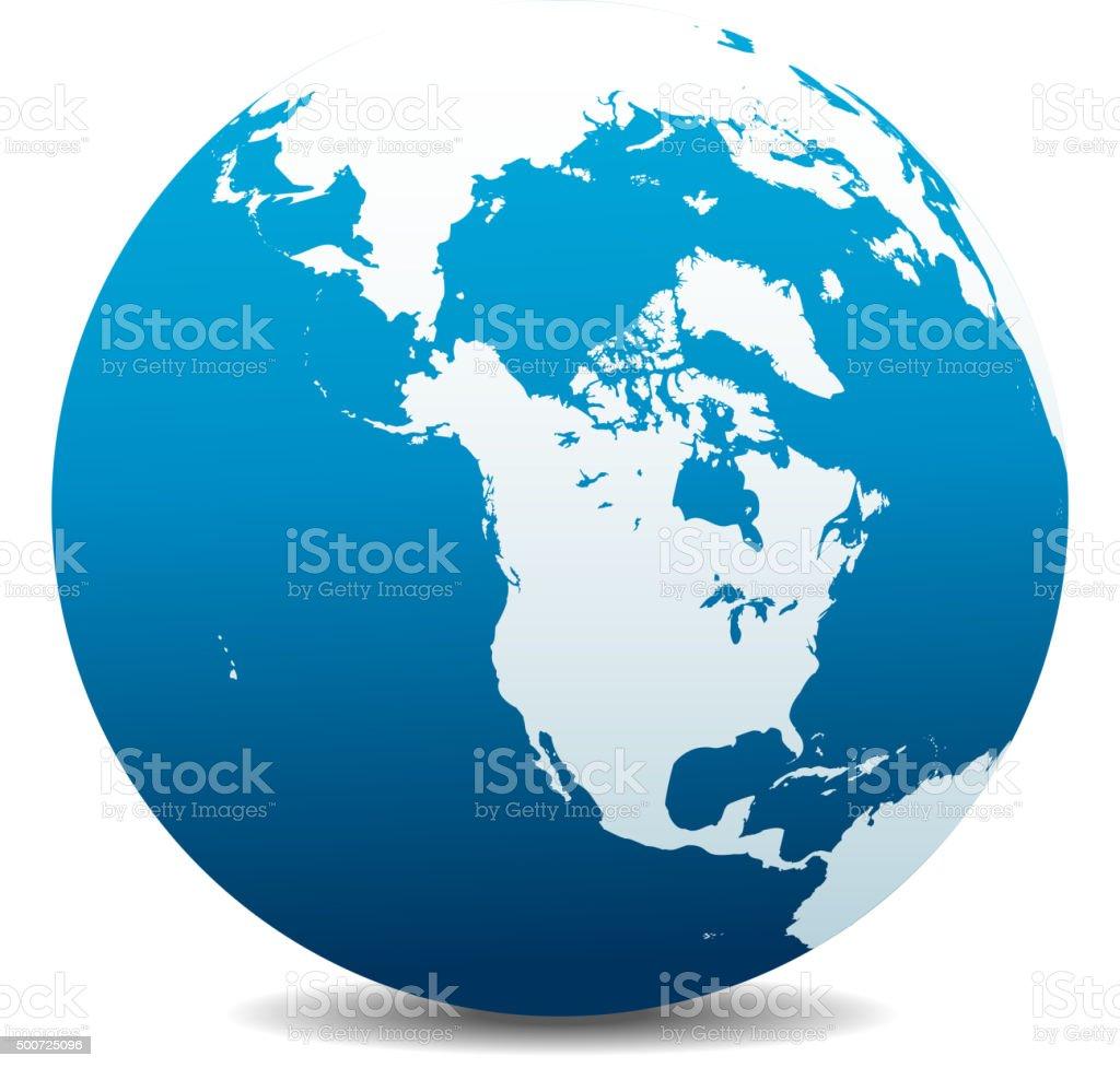 Canada, North America, Siberia and Japan Global World vector art illustration