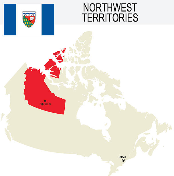 Canada Province Northwest Territories Map And Flag Clip Art