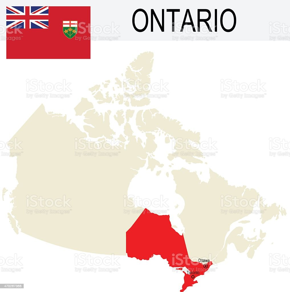 Canada Province : Ontario map and Flag vector art illustration
