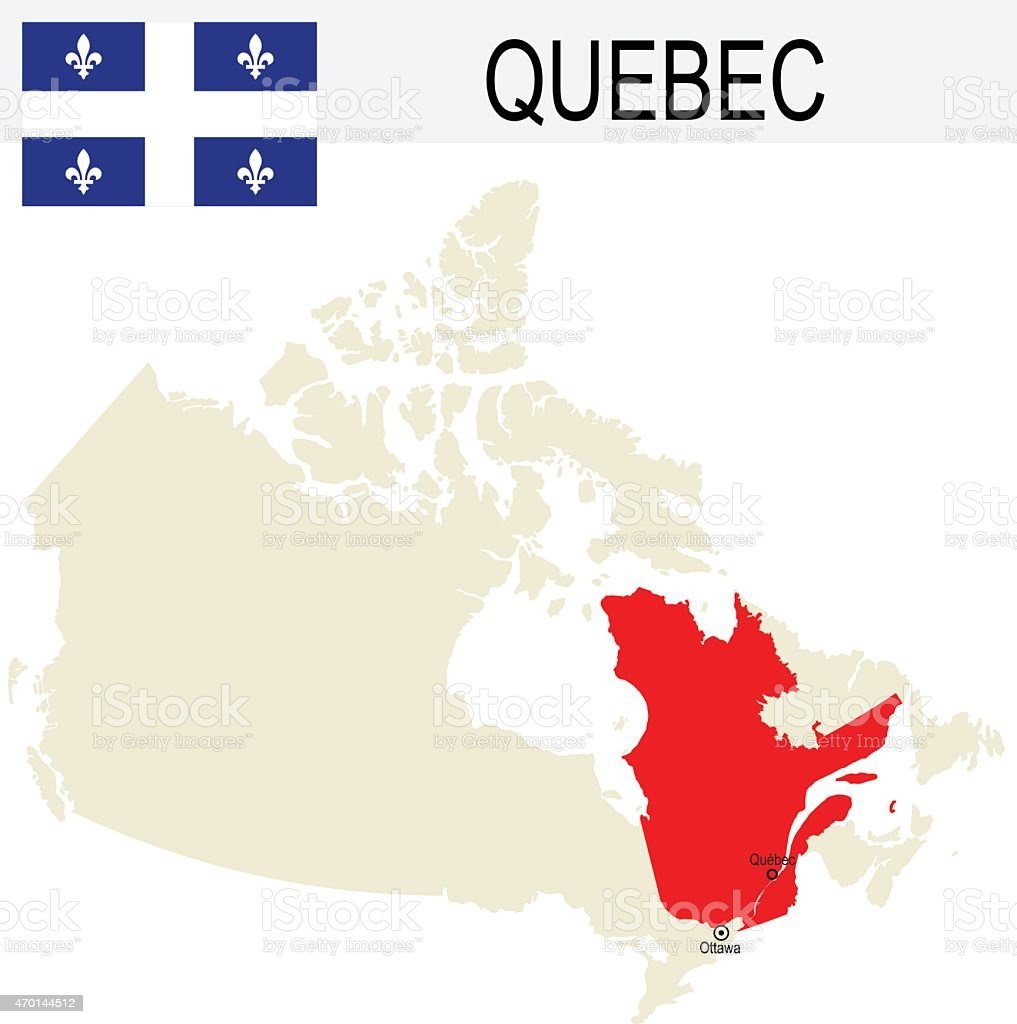 Canada Province : Quebec map and Flag vector art illustration