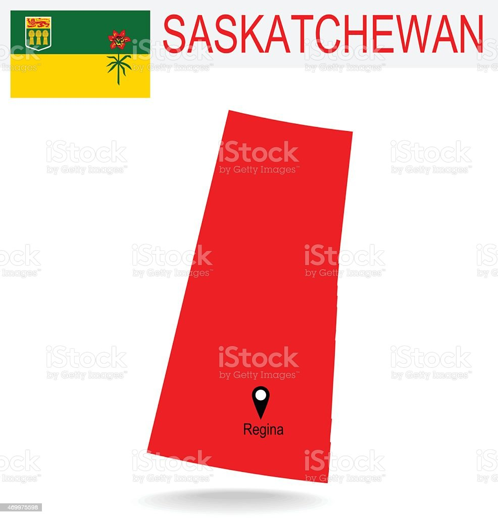 Canada Province : Saskatchewan map and Flag vector art illustration