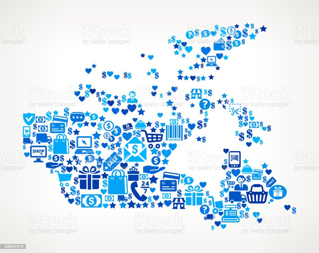 canada Shopping and Commerce Blue Icon Pattern vector art illustration
