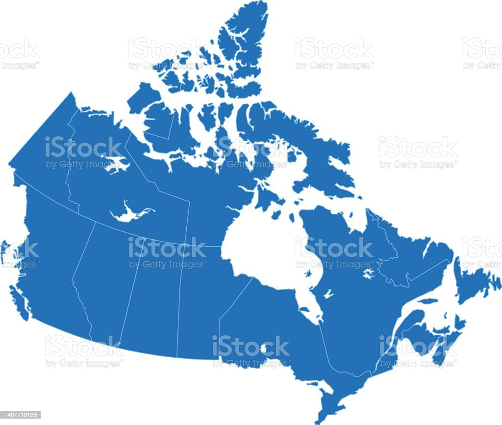 Canada Simple Blue Map On White Background Stock Vector Art - Map usa canada vector