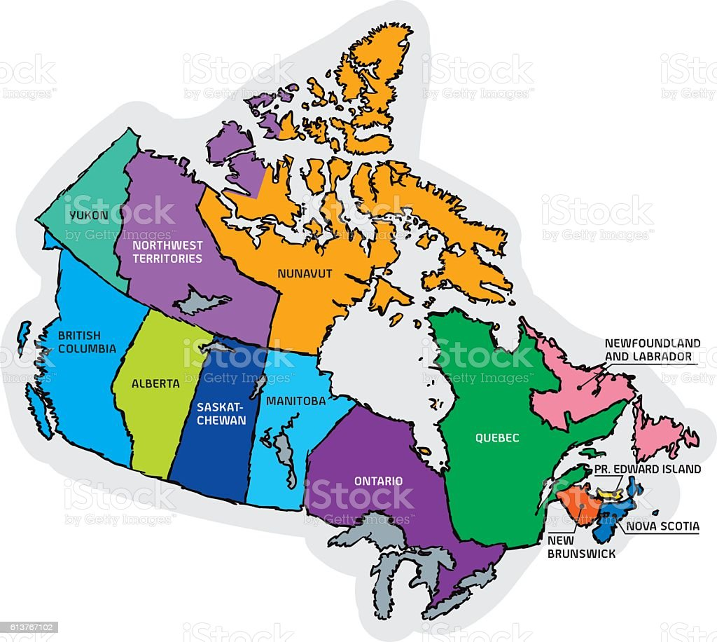 Canada Sketch Map with Region Names vector art illustration