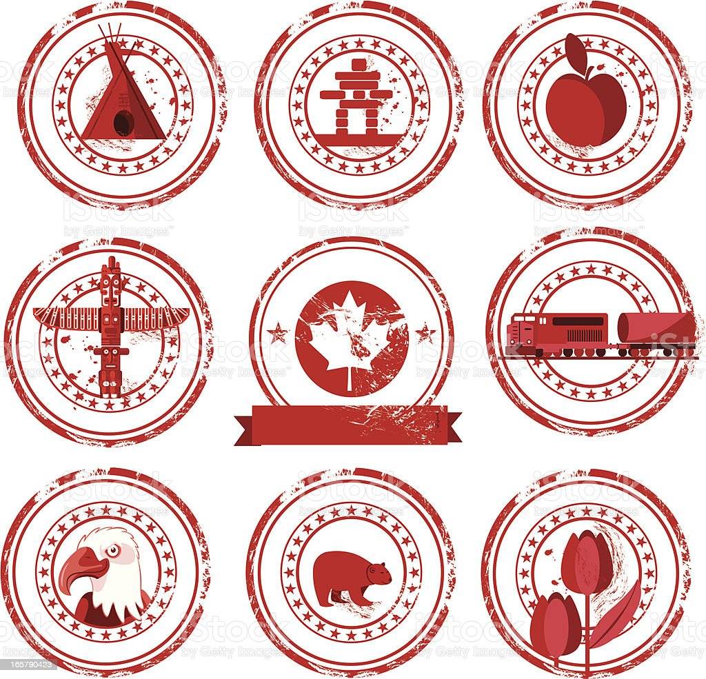 Canada stamps vector art illustration