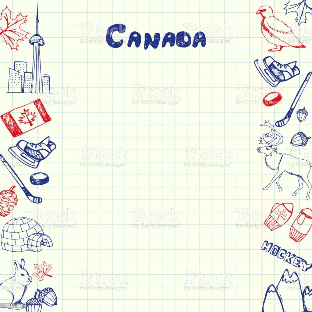 Canada Symbols Pen Drawn Doodles Vector Collection vector art illustration