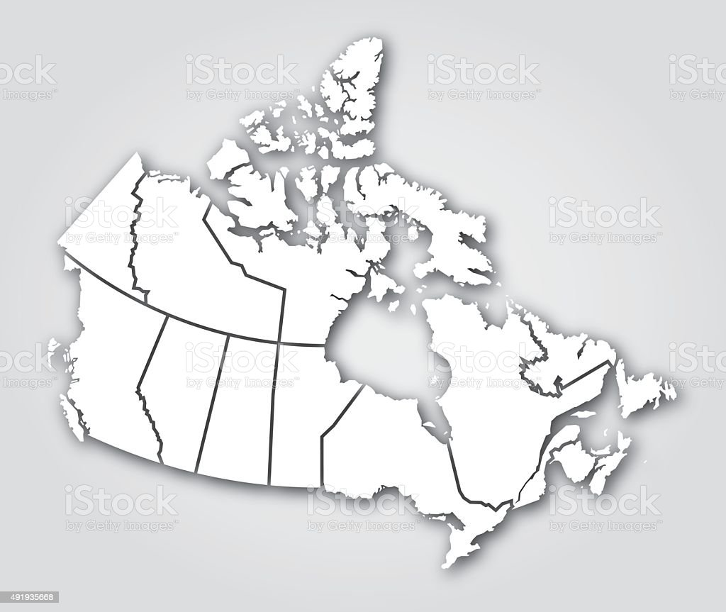 Canada Territories Silhouette White vector art illustration