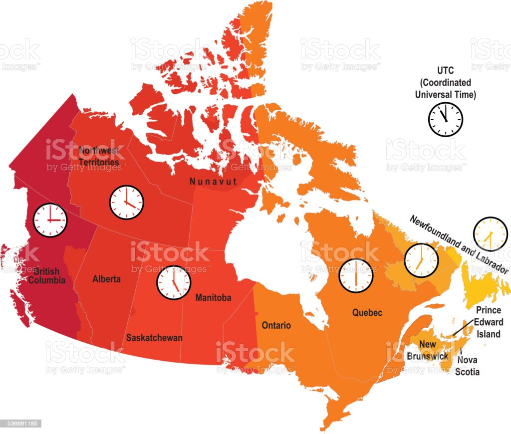 Canada Time Zone Map vector art illustration