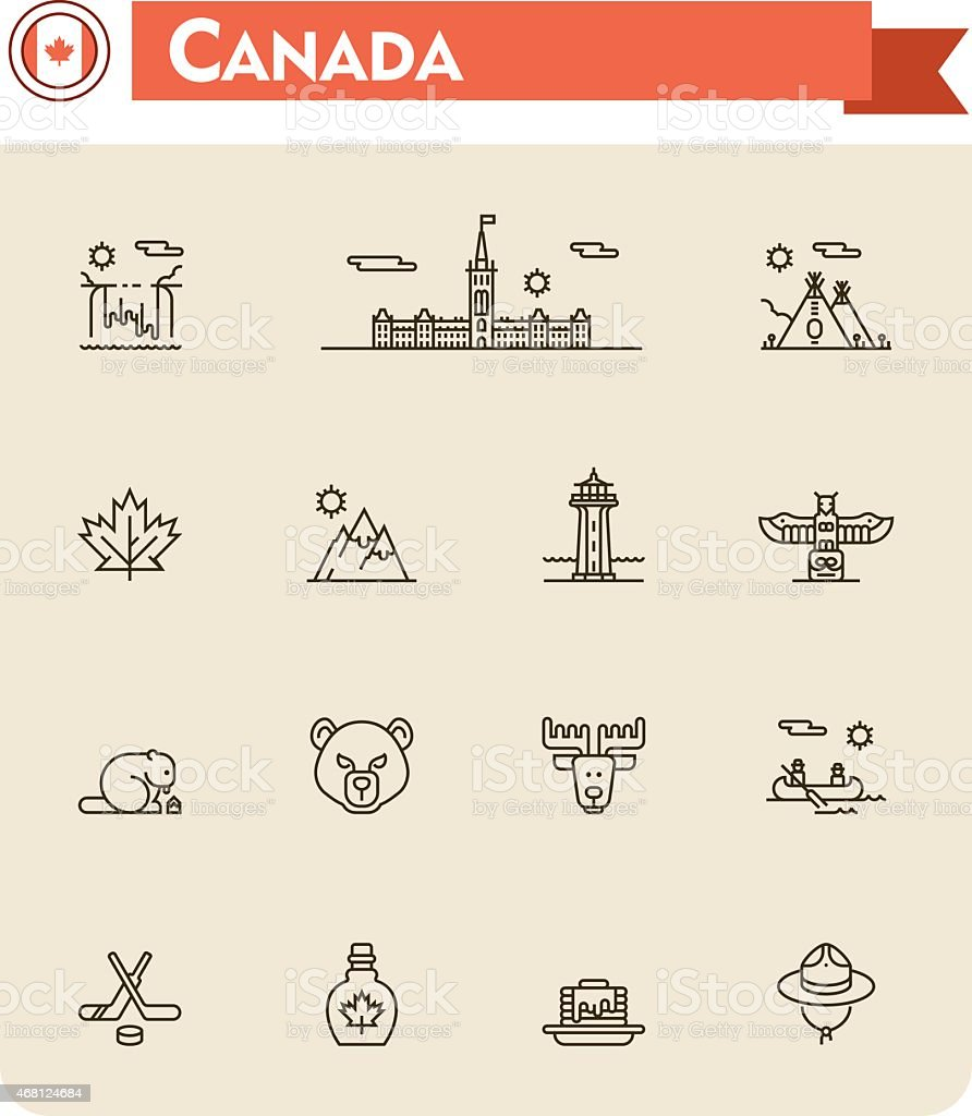 Canada travel icon set vector art illustration
