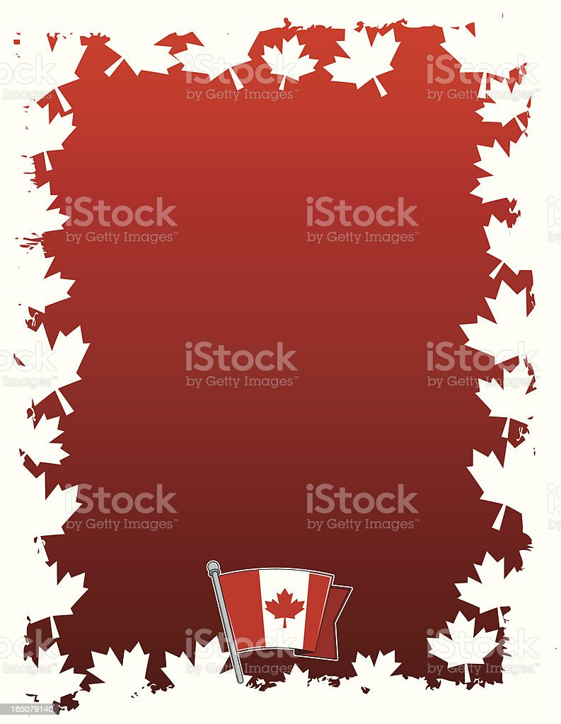 Canadian Border and flag royalty-free stock vector art