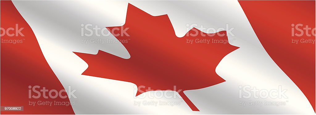 Canadian Flag Flowing in the Wind royalty-free stock vector art