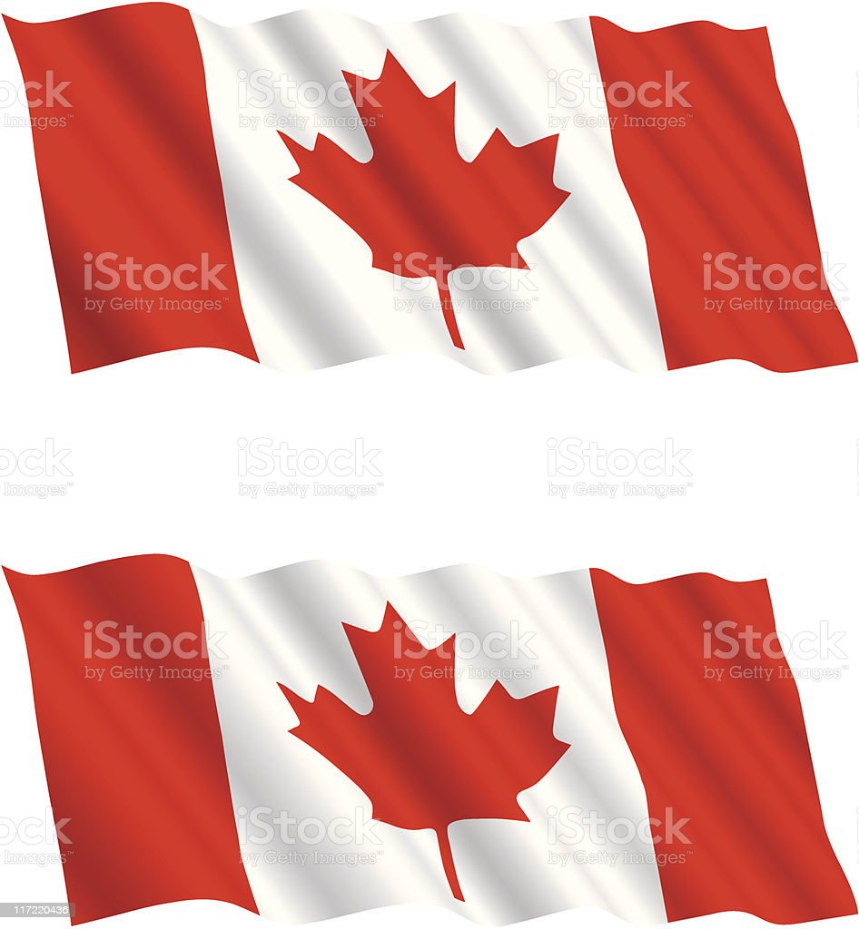 Canadian Flag Flying in the Wind 2 vector art illustration