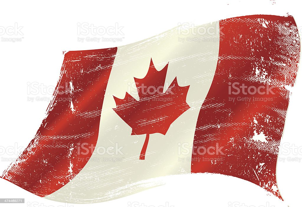 canadian flag grunge vector art illustration