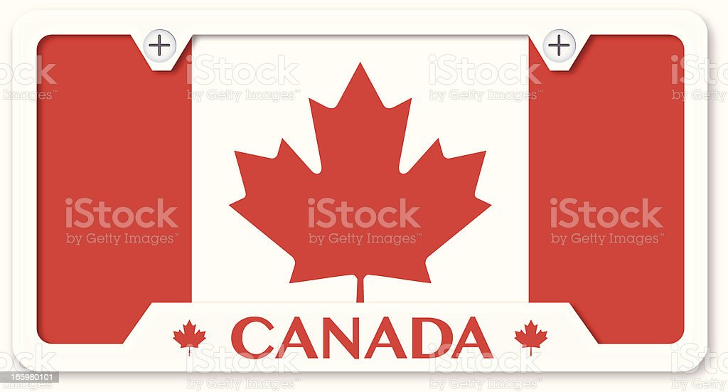 Canadian Flag License Plate With Frame royalty-free stock vector art