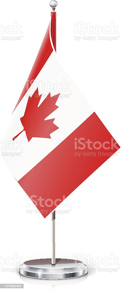 Canadian flag on flagstaff and support royalty-free stock vector art