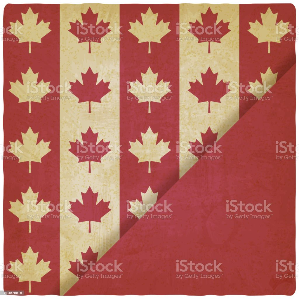 canadian flag symbols vintage background stock vector art