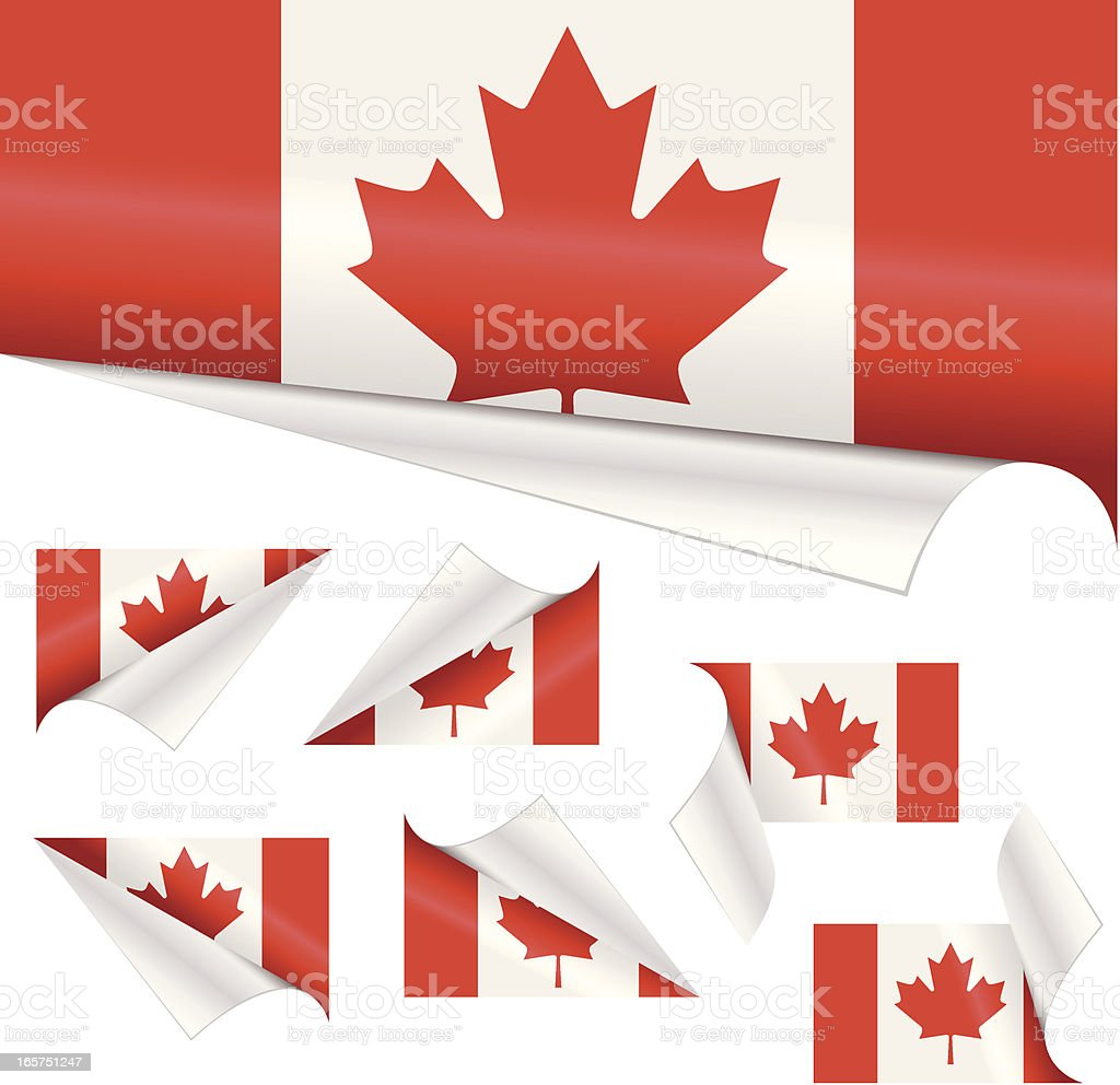 Canadian Flags behind Curled Paper royalty-free stock vector art