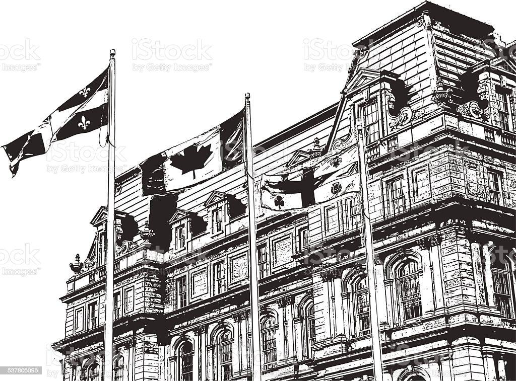 Canadian Flags vector art illustration