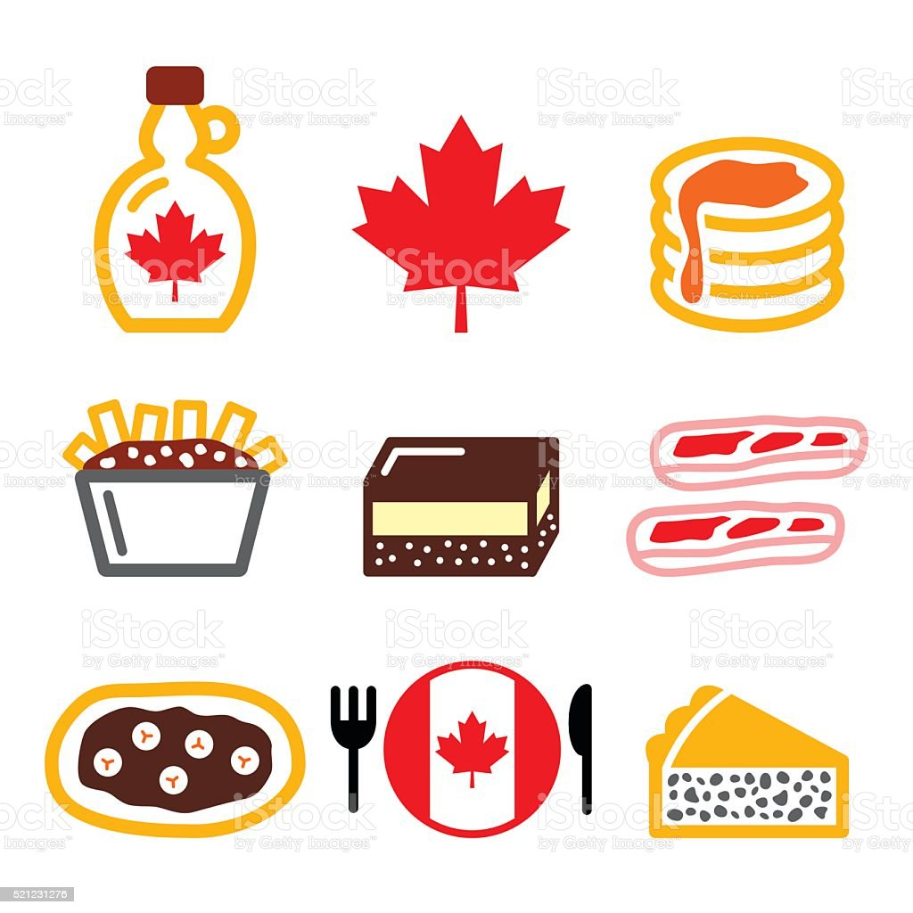 Canadian food icons vector art illustration