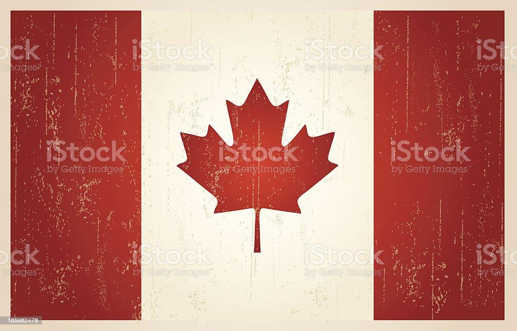 Canadian grunge vintage flag vector art illustration
