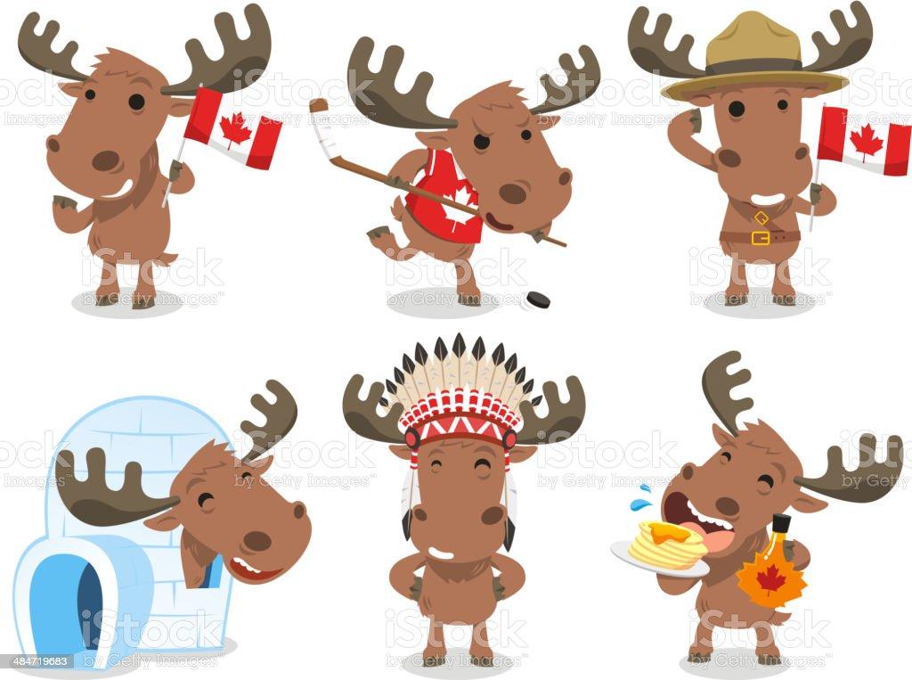 Canadian Moose Canada Mammal Animal Species Icon Culture vector art illustration