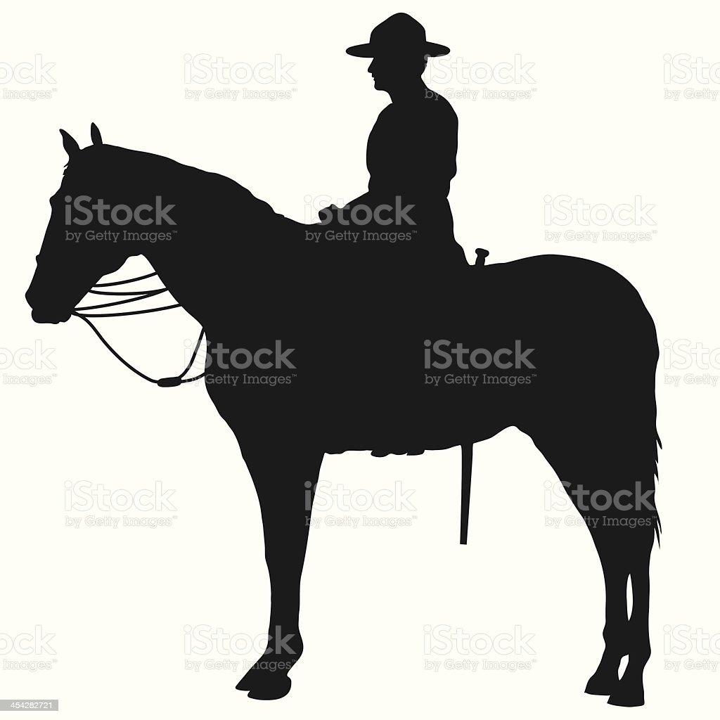 Canadian Mountie Silhouette royalty-free stock vector art