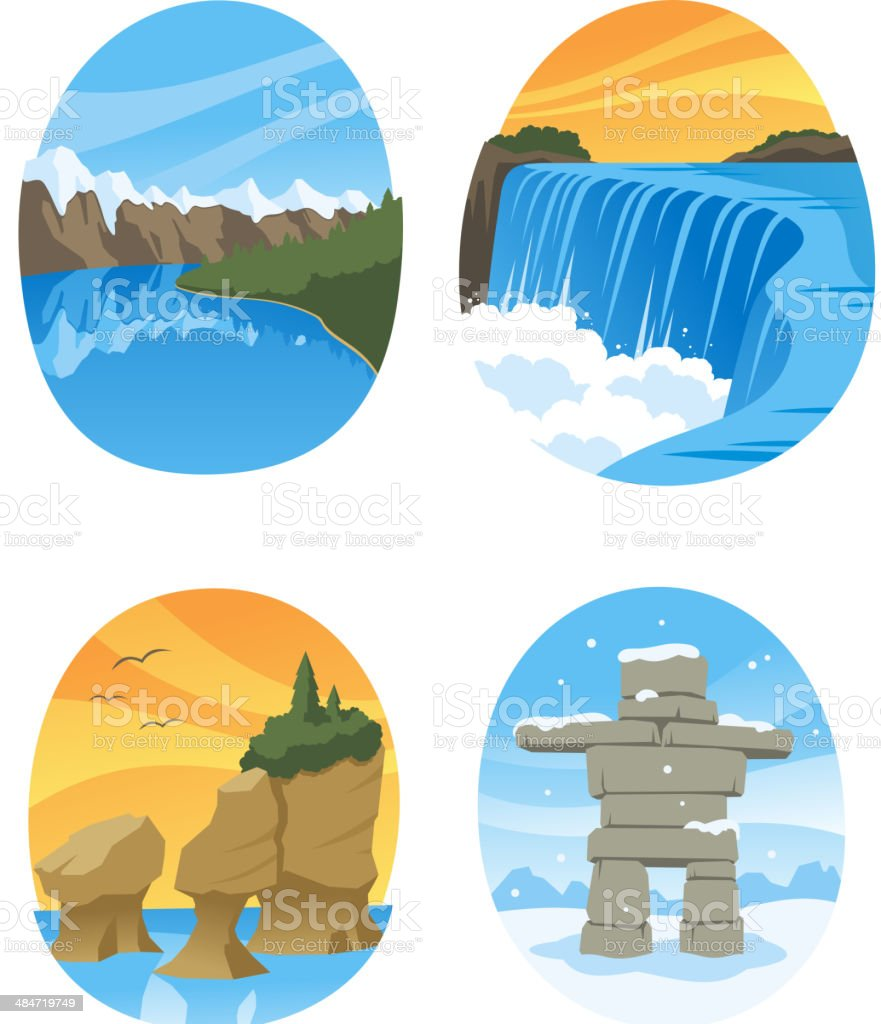 Canadian Nature Landmarks Canada Landmark vector art illustration