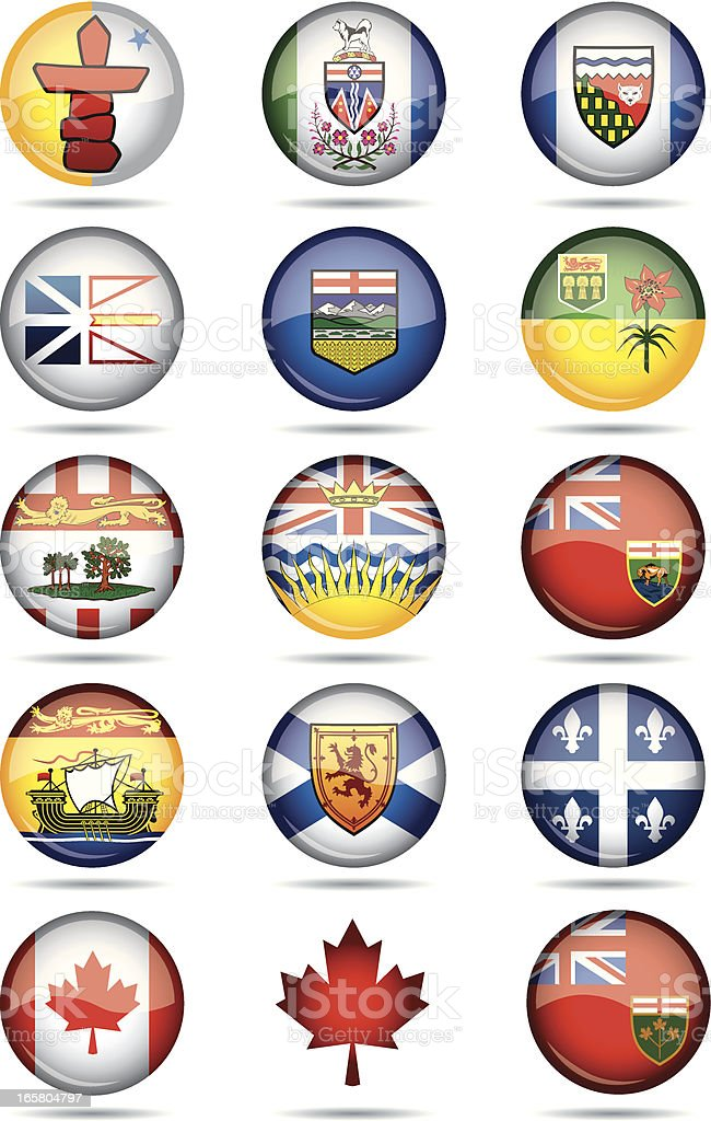 Canadian Provinces flags-buttons vector art illustration