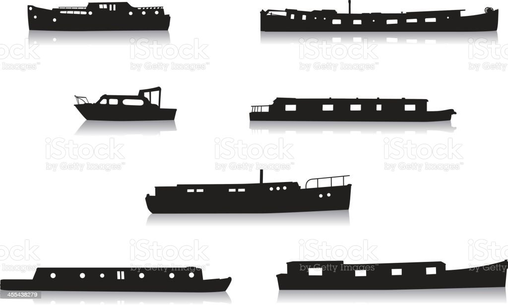 Canal boat silhouettes vector art illustration