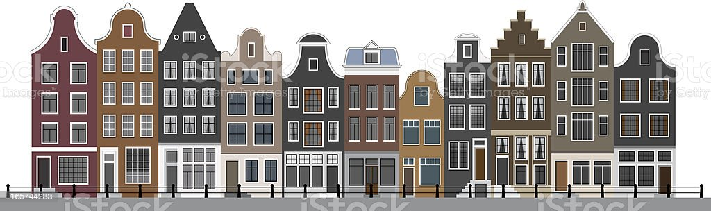 Canal Houses in Amsterdam vector art illustration