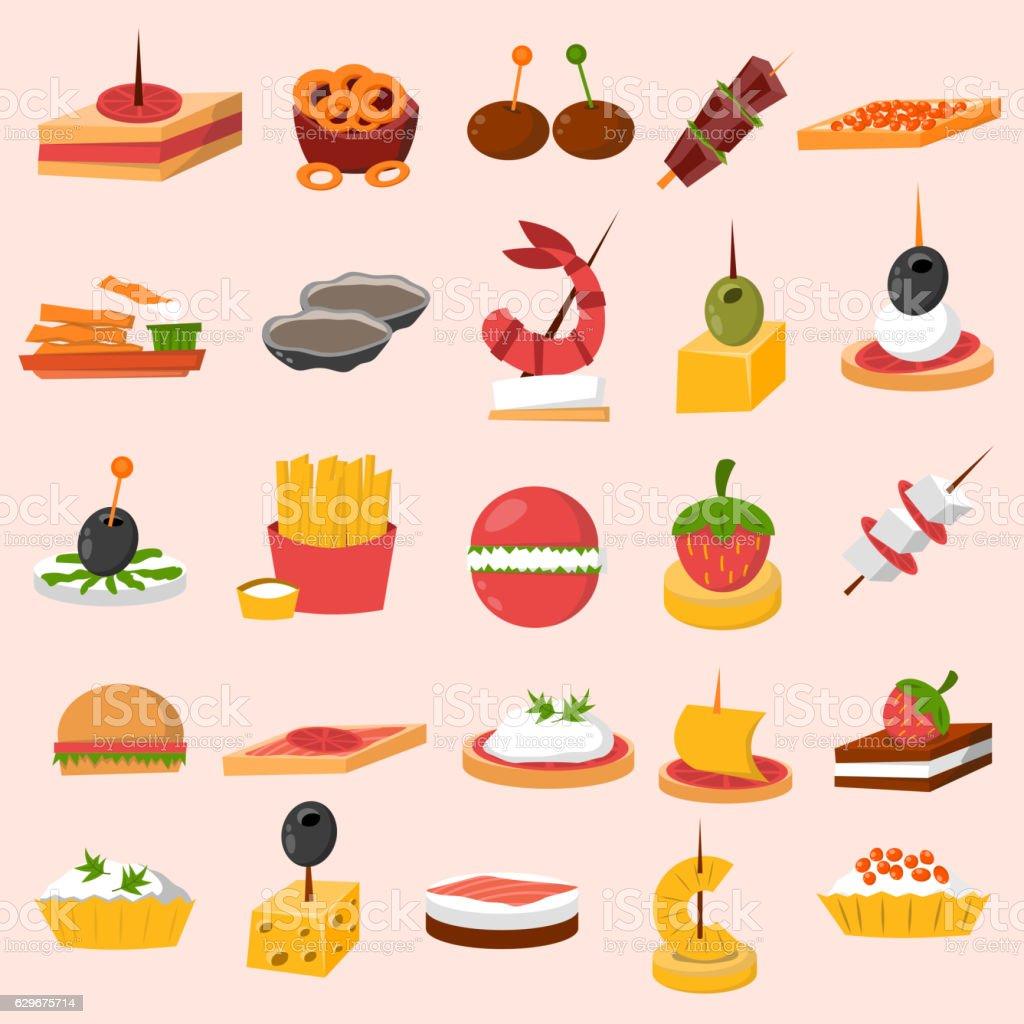 Canape snacks appetizer vector set. vector art illustration
