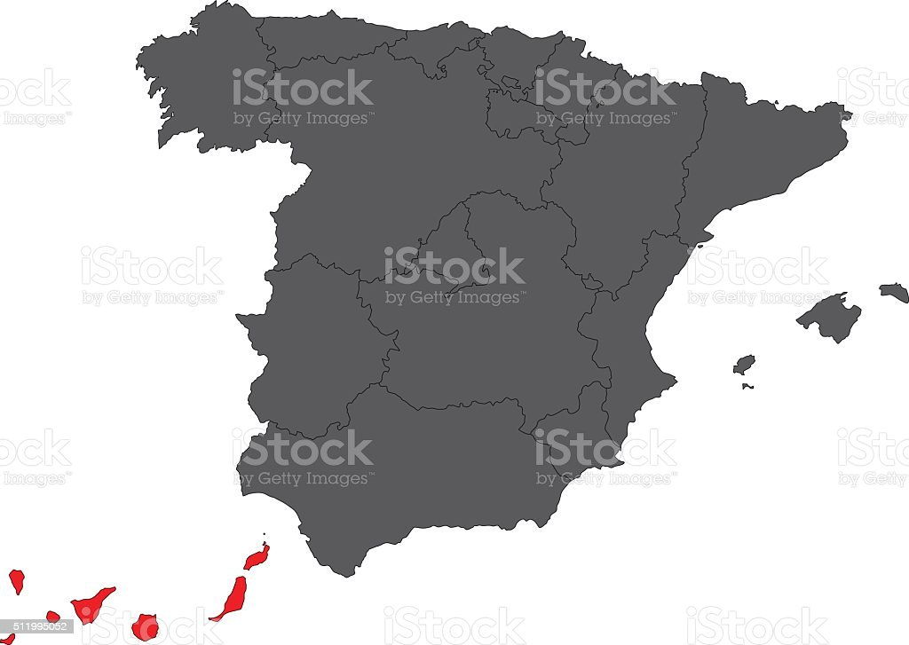 Canary Islands red map on gray Spain map vector vector art illustration