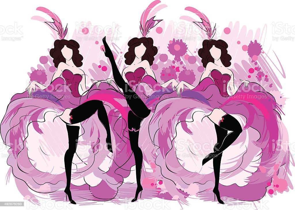 Cancan dancers sketch vector art illustration