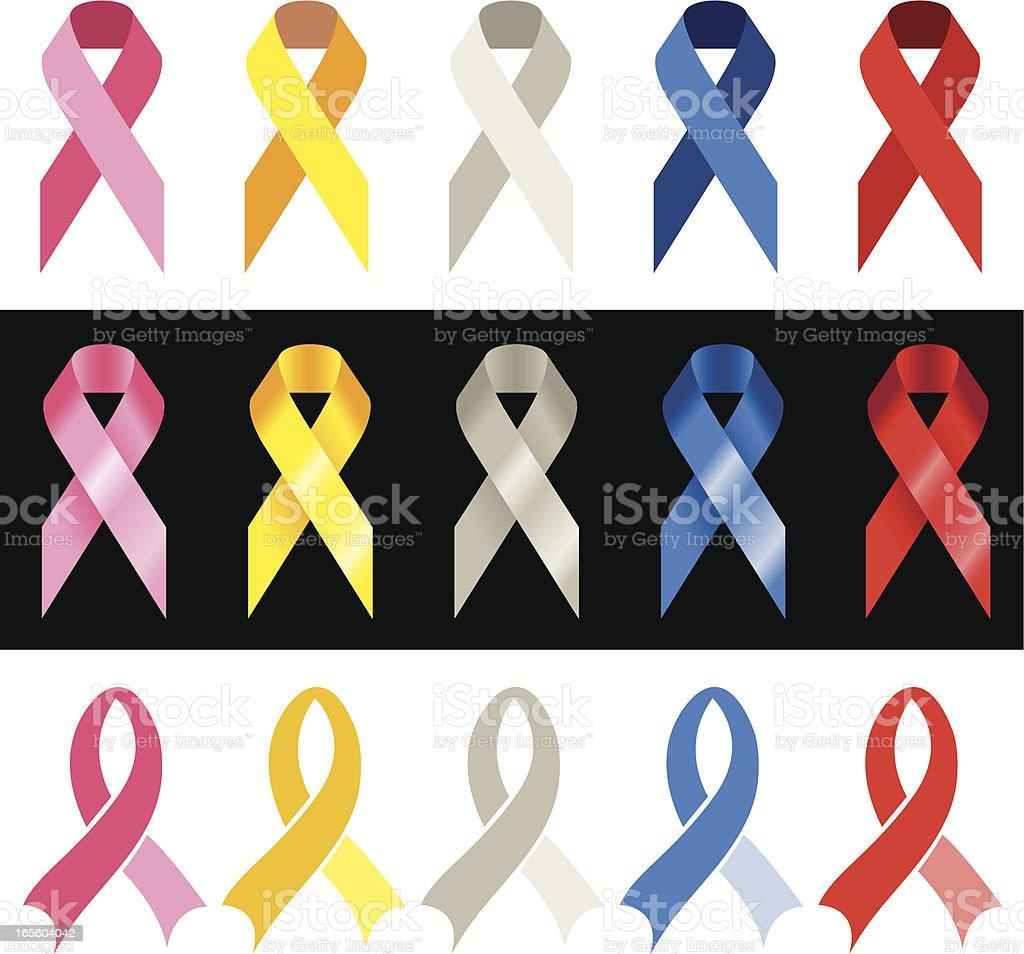 Cancer Awareness Ribbons vector art illustration