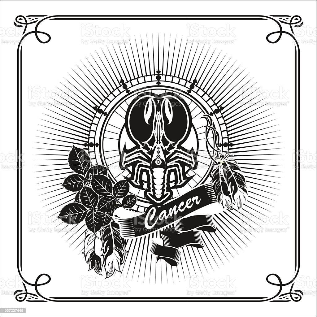 Cancer zodiac sign vector art illustration