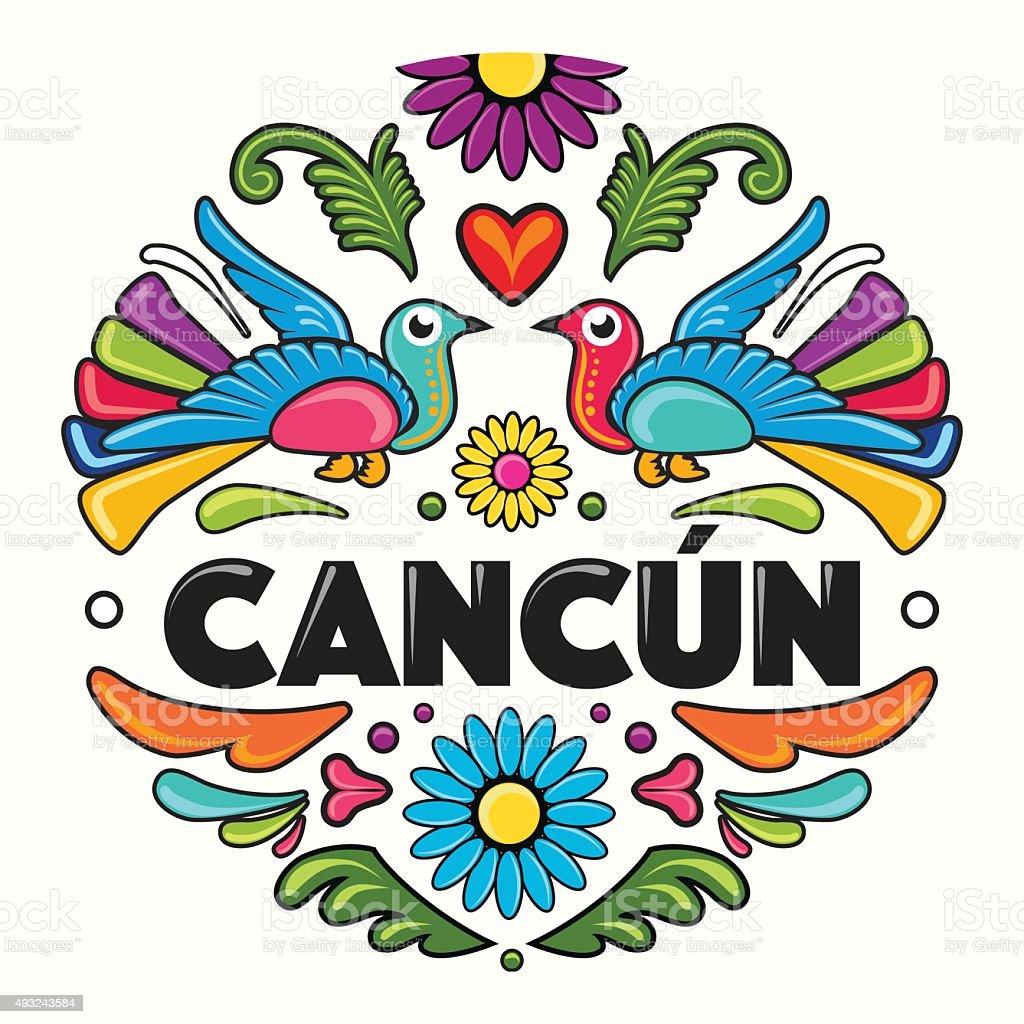 Cancún Amate Circle Print - Illustration vector art illustration