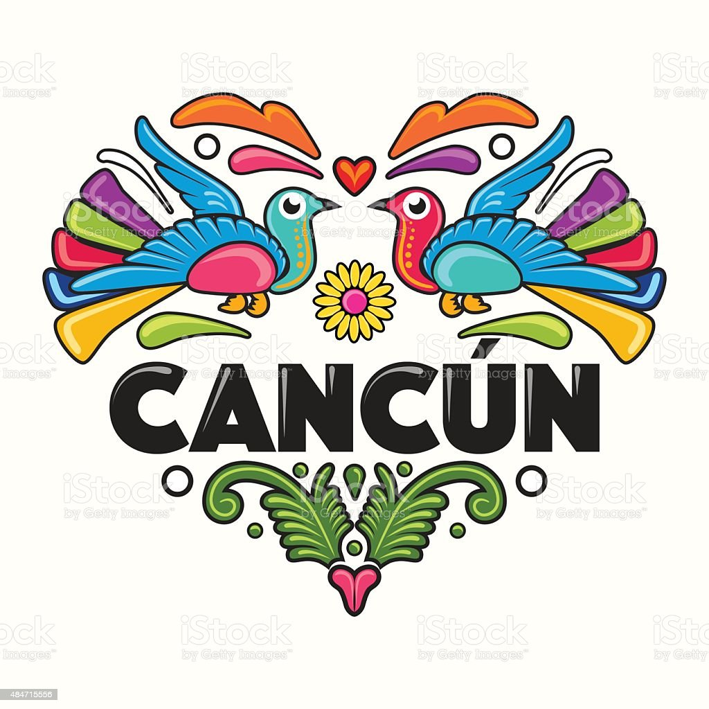 Cancún Amate Heart Print vector art illustration
