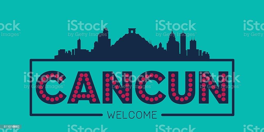 Cancun city skyline typographic illustration vector art illustration