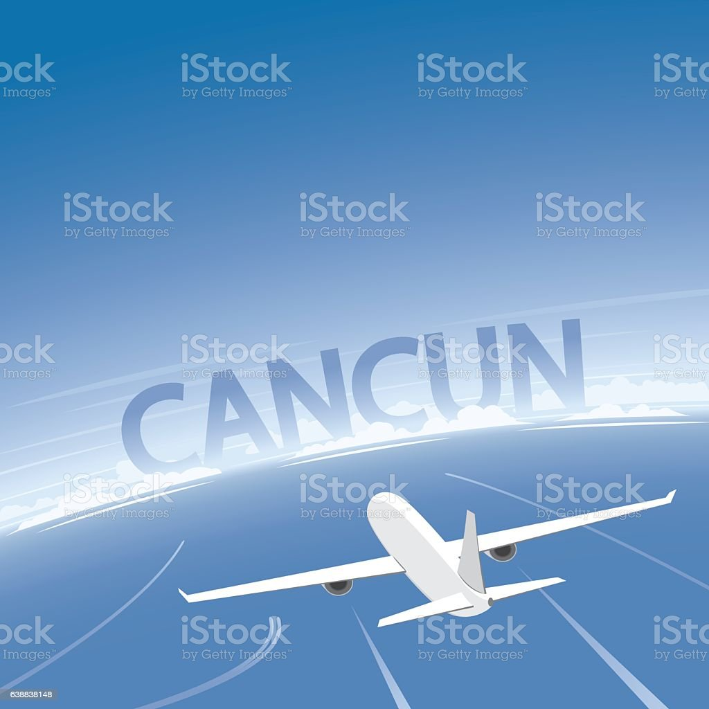 Cancun Flight Destination vector art illustration