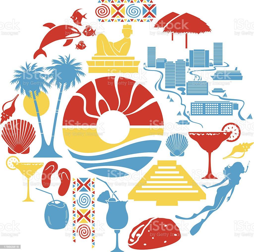 Cancun Icon Set vector art illustration
