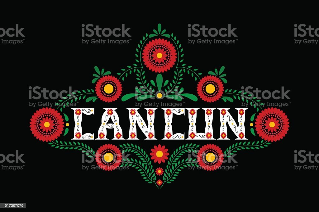 Cancun mexican typography concept vector vector art illustration