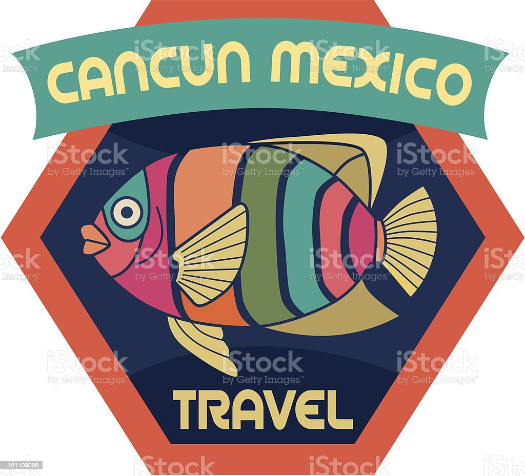 Cancun Mexico luggage label or travel sticker vector art illustration