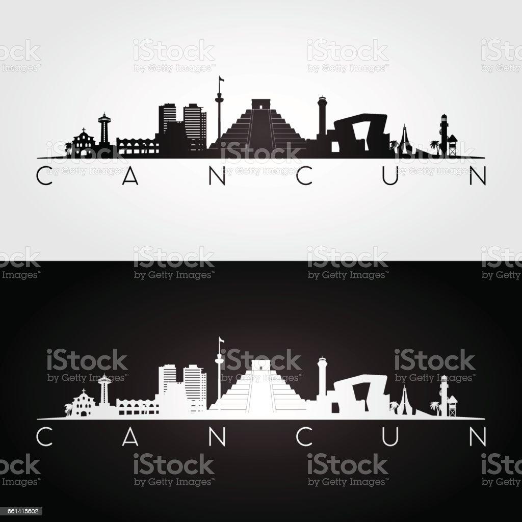 Cancun skyline and landmarks silhouette, black and white design, vector illustration. vector art illustration
